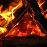 Triangle in flame.
